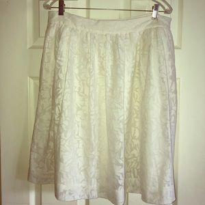 J.Crew White Cotton Burnout A-Line Skirt Size 12